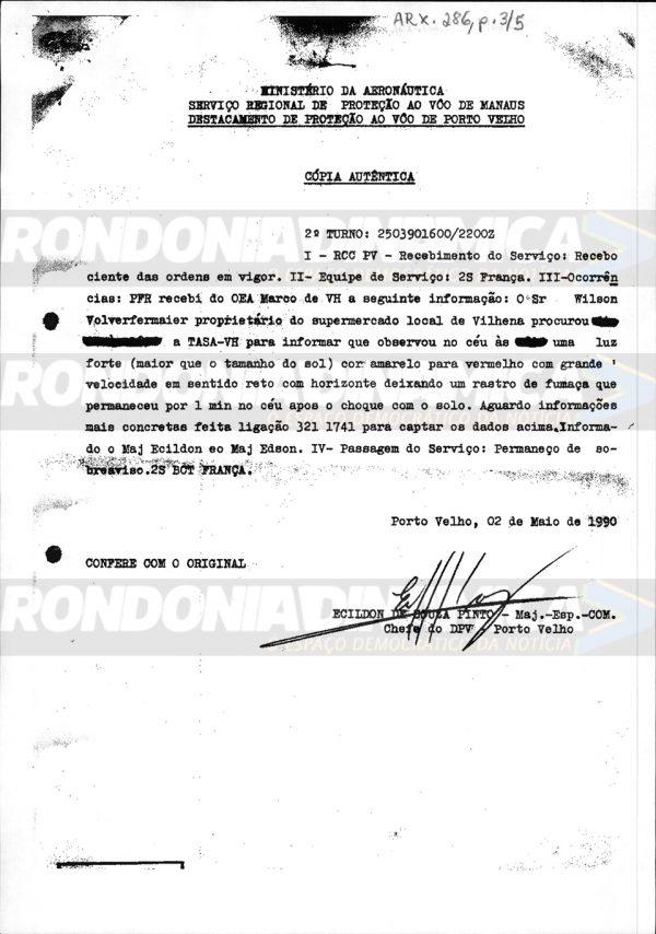 BRASIL: Docs confidenciais do governo federal mostram registros de OVNIs em Rondônia