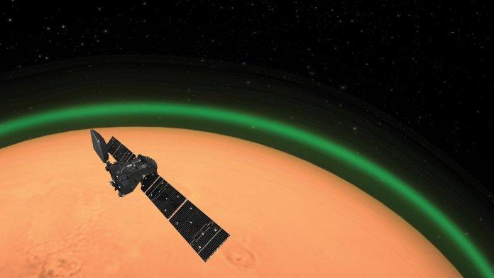 ExoMars vê brilho verde na atmosfera de Marte, assim como ocorre na Terra