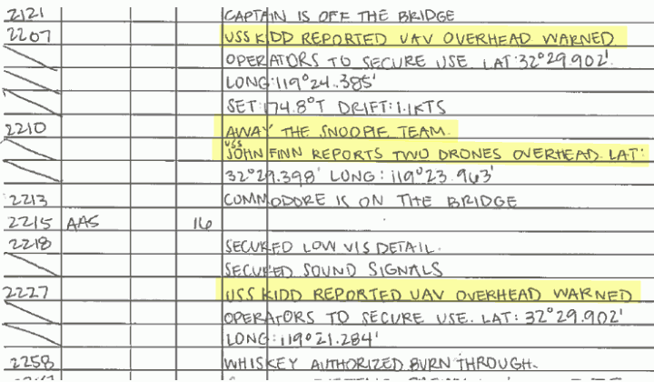 Contratorpedeiros foram perseguidos por OVNIs na Califórnia por várias noites
