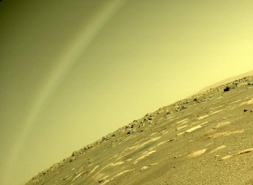 "Jipe-sonda Perseverance tira foto de ""arco-íris"" em Marte"