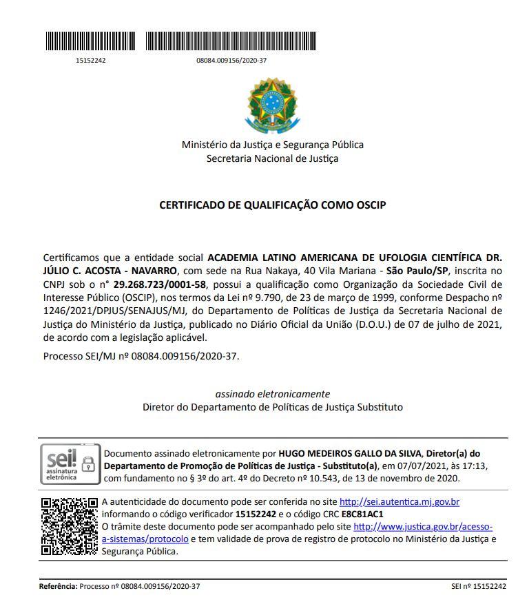 Academia Latino Americana de Ufologia Científica é reconhecida como OSCIP