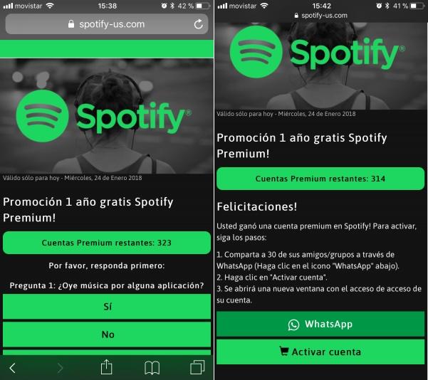 Spotify premium gratis estafa