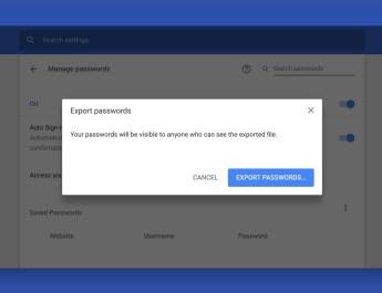Exportar contraseñas Chrome