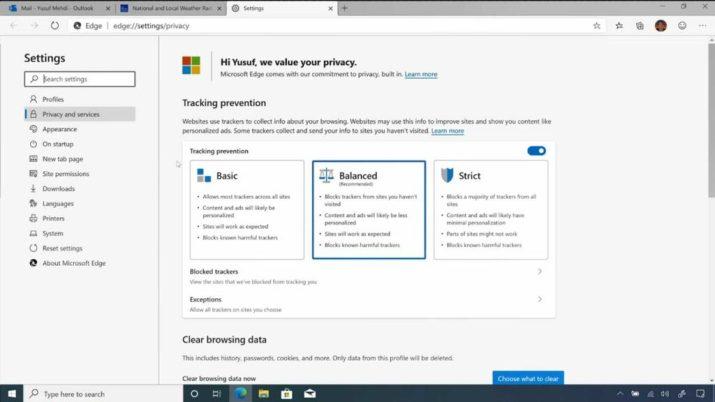 Privacidad Microsoft Edge
