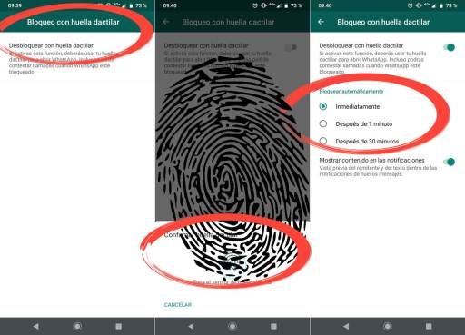 WhatsApp bloqueo huellas Android