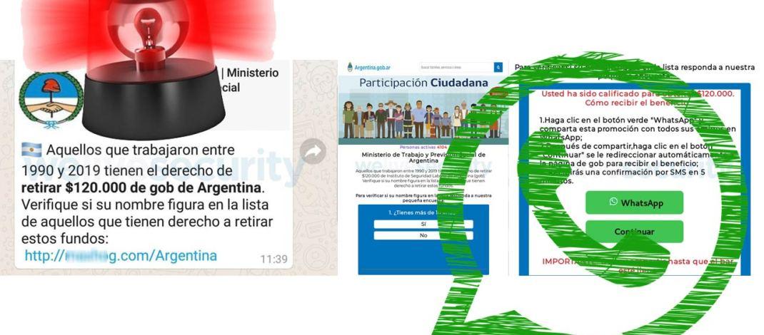 No, el Gobierno argentino no va a darte $120.000 por haber trabajado desde 1990: la nueva estafa vía WhatsApp