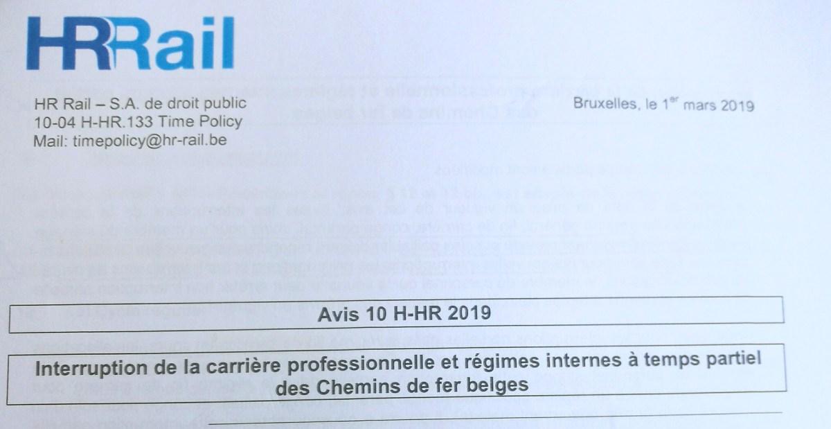 AVIS 10 H-HR 2019 INTERRUPTION DE LA CARRIERE PROFESSIONNELLE ET REGIMES INTERNES A TEMPS PARTIEL DES CHEMINS DE FER BELGES