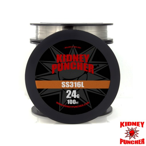 Kidney Puncher SS316L Wire 100 feet 316L Stainless Steel Wire. You will receive a 100ft spool Genuine Sandvik Wire - Smelted in Sweden, Milled in the USA. STAINLESS STEEL WIRE Kidney Puncher SS316L Wire 100 feet . Made in the USA. This is NOT China wire. Kidney Puncher American Premium Vaping Wires