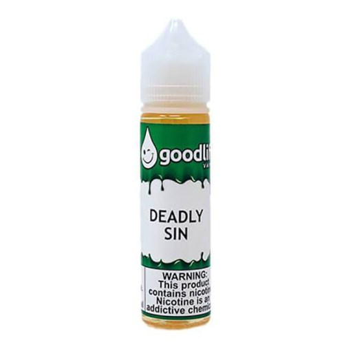 Deadly Sin MTL Good Life Vapor 60ml A sweet, bakery kind of tobaccoish type vape. A description will never do this one justice. Some flavors are made for each other and blend perfectly. The throat hit is there, the flavor is outstanding, the blend is a 50%VG 50%PG. Will leave your surroundings smelling like fresh baked cookies and cakes! I have been told that this is very similar to a Crispy treat as well as Cinnamon Buns. Some sins are deadly, some are sweet, and some are both! Deadly Sin is a sweet, bakery tobacco type vape that will leave you wanting more! Deadly Sin  Good Life Vapor | This flavor is one of the best-selling vape juices of all time thanks to its glorious taste that always hits the spot. Deadly Sin, which has sold well over 1.5 million bottles worldwide since 2012 . One of the BEST ( MTL ) Mouth To Lung Liquids Worldwide . Size 60ml Deadly Sin MTL : 50%VG 50%PG مخبوزات حلوة و طعم التبغ - التوباكو - يترك رائحة الكعك الطازج يشبه إلي حد كبير كعكة القرفة  هذا الإصدار مخصص لمحاكاة نفس السيجارة