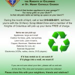 8th Annual Scrap Metal Drive by Knights of Columbus at St Henry Church