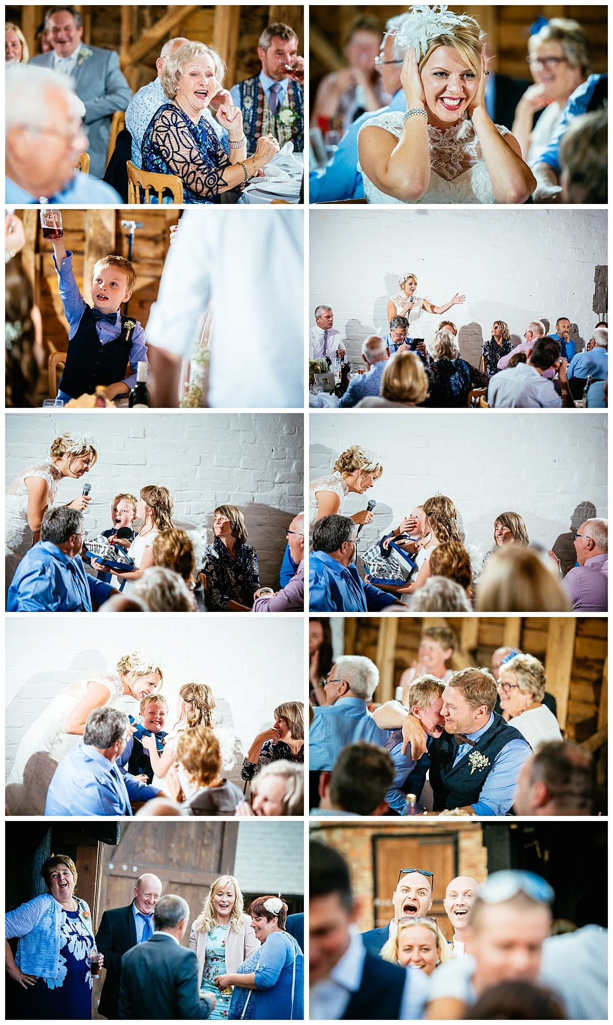 Colourful wedding photography from over barn
