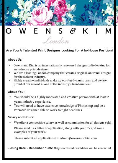 In House Print Designer Vacancy Owens & Kim
