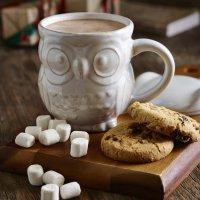 Lovely white ceramic mug with cute owl shaped design - Owl ...
