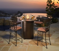 Bar-height patio table with chairs and firepit