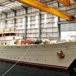 71m luxury charter yacht Dona Amelia at Pendennis ship yard