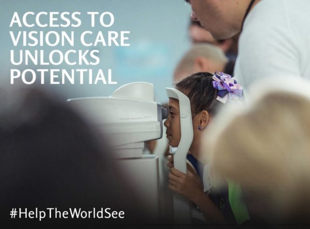 """A OneSight volunteer assists a young child with a bow in her hair during an eye exam. Text on the image reads """"Access to Vision Care Unlocks Potential #HelpTheWorldSee."""""""