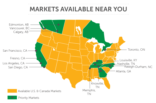 map of Pearle Vision's markets available for franchise