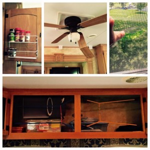 July 11, 2015 Two RV projects down: - space saving spice rack installed in kitchen - eye bolt and bungee cord barriers added to overhead cabinets, in hopes of preventing their contents from becoming projectiles, thus eliminating future endeavors like the... Two to go: - replacing crippled ceiling fan (thwacked by a flying box of office supplies) - repairing torn window screen (a computer keyboard went through it). Contents may shift during travel. Indeed.