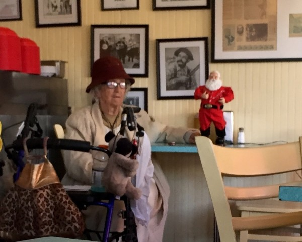 Encountered this local lady in the Burger Bar. She made sure I noticed her dancing Santa, and she showed me her Tennessee Ernie Ford album. Like, record album. Could not make this shit up.