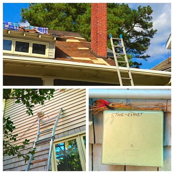 Fun at the old homestead: admiring the new roof in progress, cleaning out the dryer vent, and wondering who wrote that.
