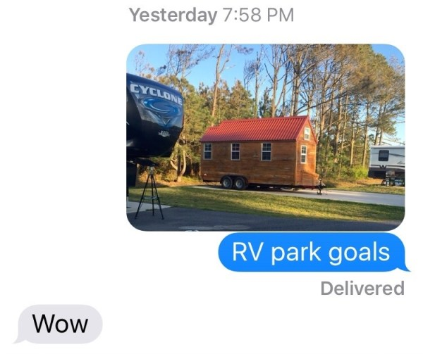 Just down the row from us here in Virginia Beach, this one prompted a text message to our son, who has actually built tiny homes! Note his enthusiastic response.