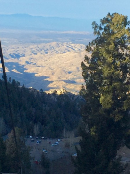 View from the ski lift, looking northward down the backside of the mountain