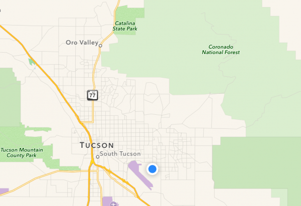 We're staying at the blue dot. Our hike took us into the Coronado National Forest.