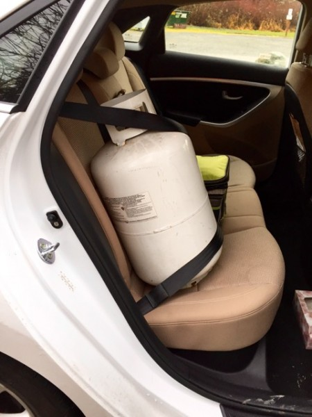 Another maintenance item: keeping the propane tanks full. Among other things, they keep the fridge running while we're driving (i.e. unplugged). Seat belt use is a personal decision.