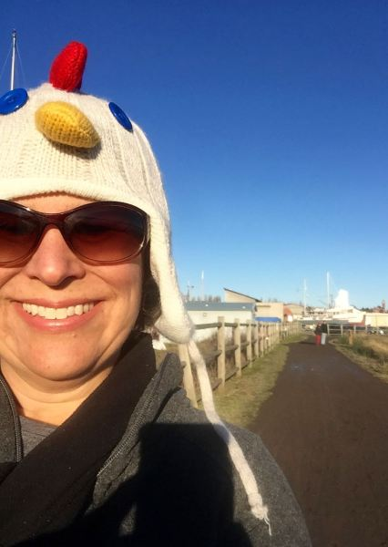 "The northward view, with chicken hat selfie. It seemed an appropriate way to greet the new year, and I got a kick out watching passing motorists say ""Look at her chicken hat!"""