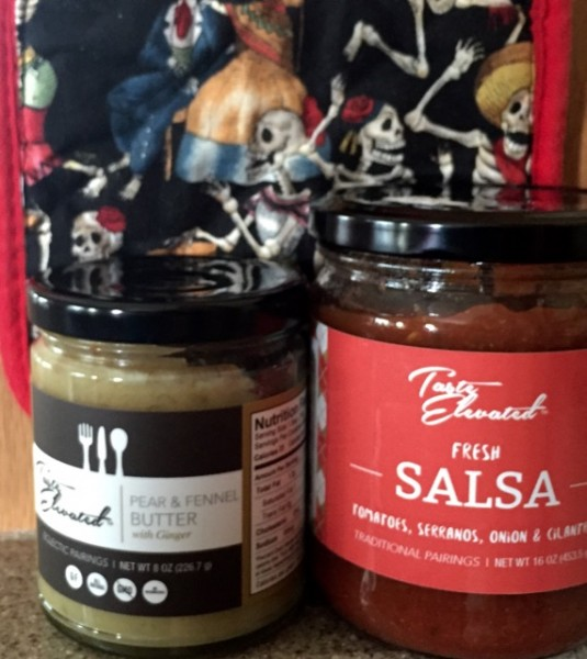 We bought these two items, pear & fennel butter and a delicious fresh salsa, after sampling them at Taste Elevated. We also learned that they quadruple in weight on a 5-mile bike ride back home, uphill, in the Texas afternoon sunshine. Next time? Tim wears the backpack.