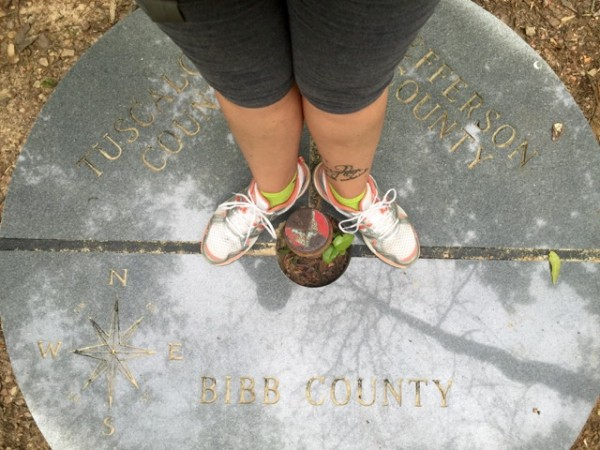 Along the Iron Road Trail was a spur that led to this marker, which allowed us to stand in three counties at once! It also tells me which county each of us peed in afterwards. Look. We were in the woods, there were no facilities, and... you know the rest.