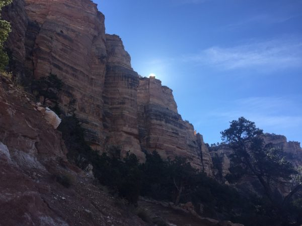 We started out just after 10 a.m., and watched the sun come over the canyon walls on our way down.