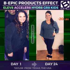 b-epic Acceler8 weight control before and after