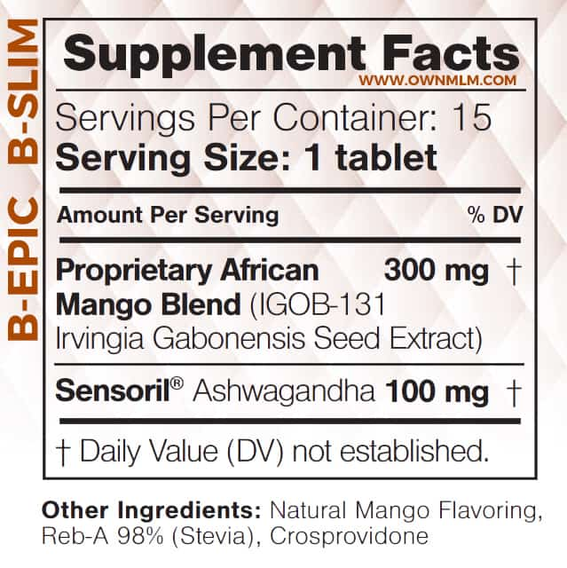 bepic b-slim tablets: supplement facts