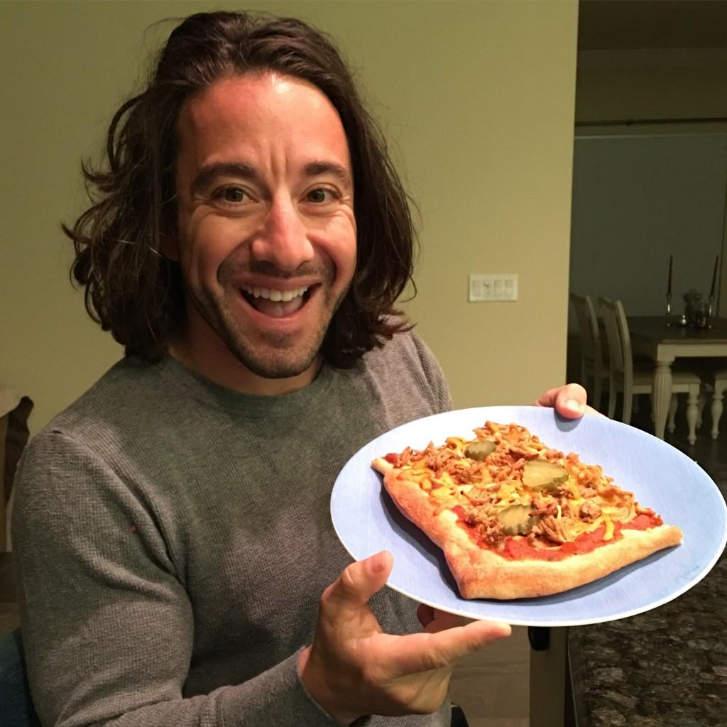 Jason and cheeseburger pizza