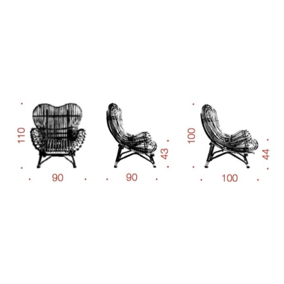 dimension Gala armchair Franco Albini