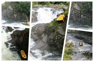 McLaren Falls: Wildwasser-Rafting und ein unglaublicher Start! Erst wird das Raft vom Felsen geschmissen, dann muss jeder Teilnehmer hinterher springen. Wie cool ist das denn!