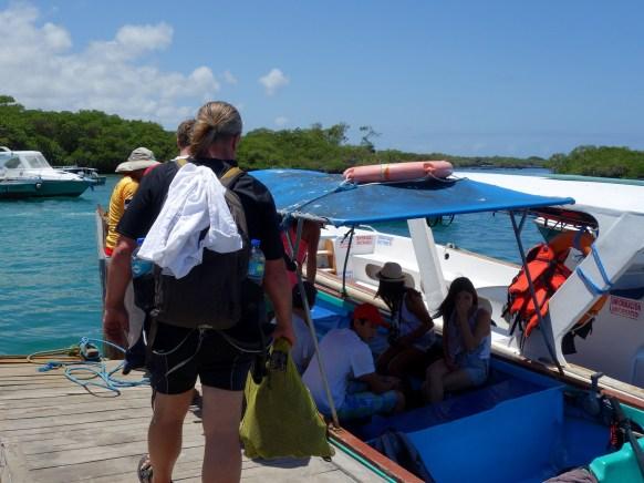 Galápagos, Santa Isabela, Tintoreros: Alles einsteigen, gleich geht es los
