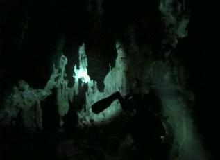 Mexiko, Tulum, Cenoten Tauchen: Die Taschenlampe gibt den Blick frei auf die Stalagmiten und Stalagtiten der Gran Cenote