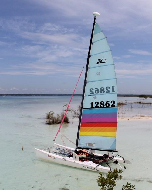 Mexiko, Laguna Bacalar: Mit dem Katamaran unterwegs