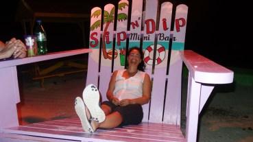 Belize, Caye Caulker: Otti muss noch viel Lobster essen um in diesen Stuhl zu passen