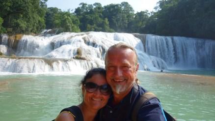 Palenque, Agua-Azul: Unser Selfie vor dem Wasserfall