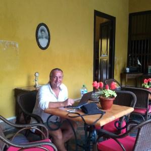 Campeche: Die Sommerregen-Zwangspause im historischen Casa No. 6 nutzten wir um an unserem Travelblog weiter zu schreiben