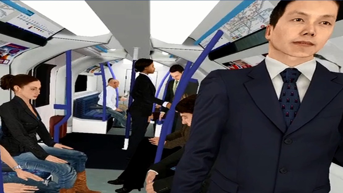 Virtual reality depiction of riding London's Victoria Line