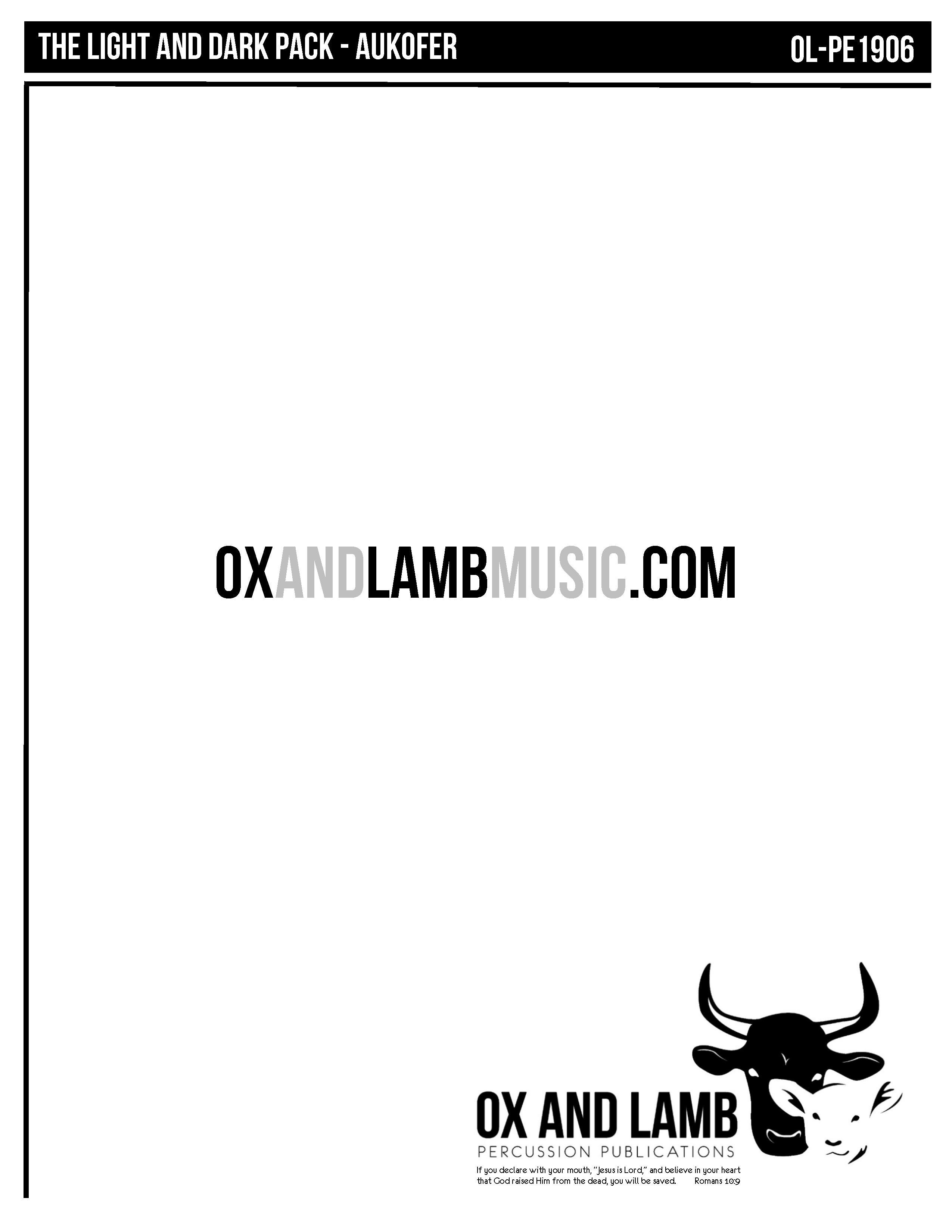The Light And Dark Pack Ox And Lamb Percussion Publications