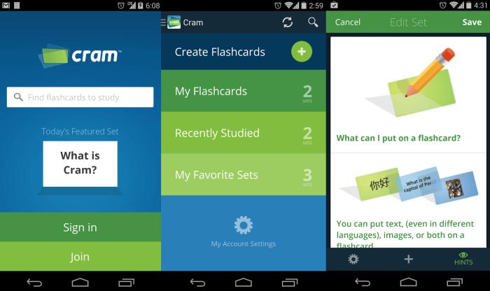 Cram student apps