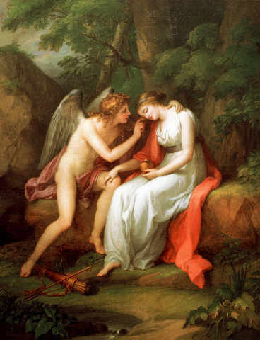 Cupid removes the veil of sleep from Psyche's face. Angelika Kauffmann