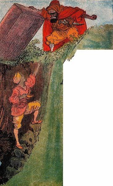 Aladdin trapped underground. Albert Robida