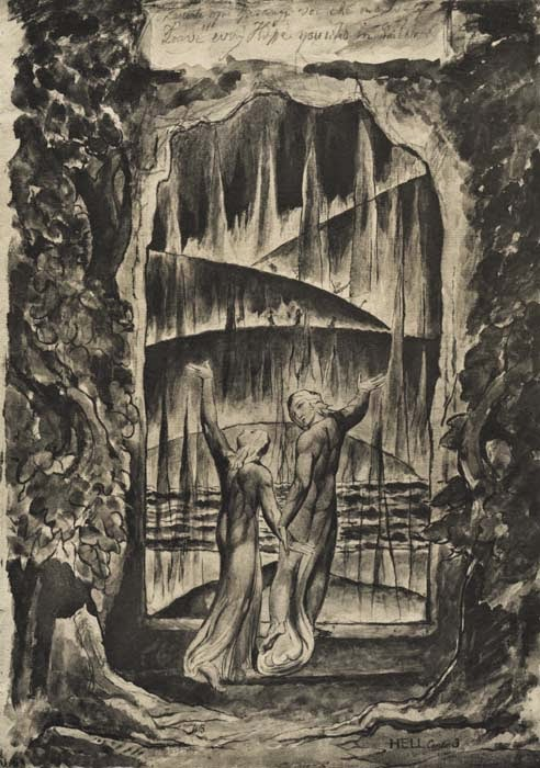 Enter Pluto's realm at your peril Dante and Virgil at the Gates of Hell by William Blake