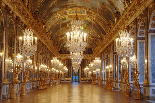 The Hall of Mirrors at Versailles.